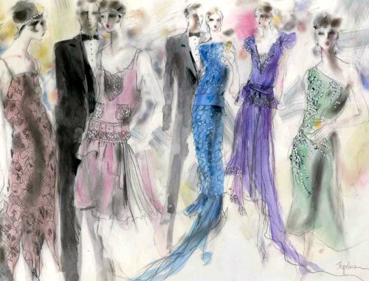 "Gatsby's party girls beautifully rendered in ""WWD"" by the great fashion illustrator Steven Stipelman"