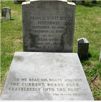F. Scott Fitzgerald's tombstone in Rockville, MD engraved with the final line of the novel