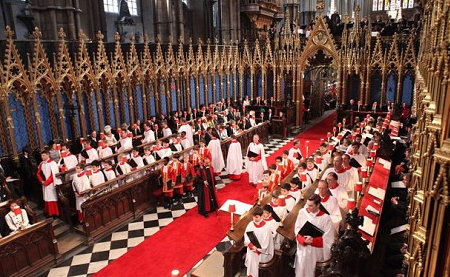 "The choir at Westminster Abbey before bursting forth with ""Jerusalem"" at the Royal Wedding"